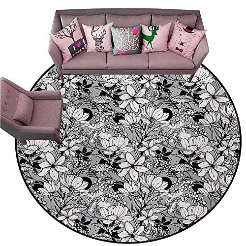 - Front Mat Home Decorative Carpet Colorful Garden Art,Botanical Pattern with Hand Drawn Flowers Frangipani Mimosa and Lotus,Black White Pale Grey Diameter 48