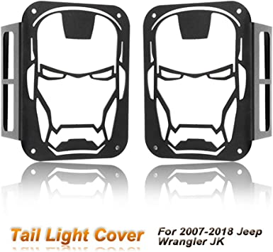 cciyu Rear Tail Light Covers Guards Protectors Fit for 2007-2017 Jeep Wrangler JK Iron Man Tail Light Cover Rear Protector