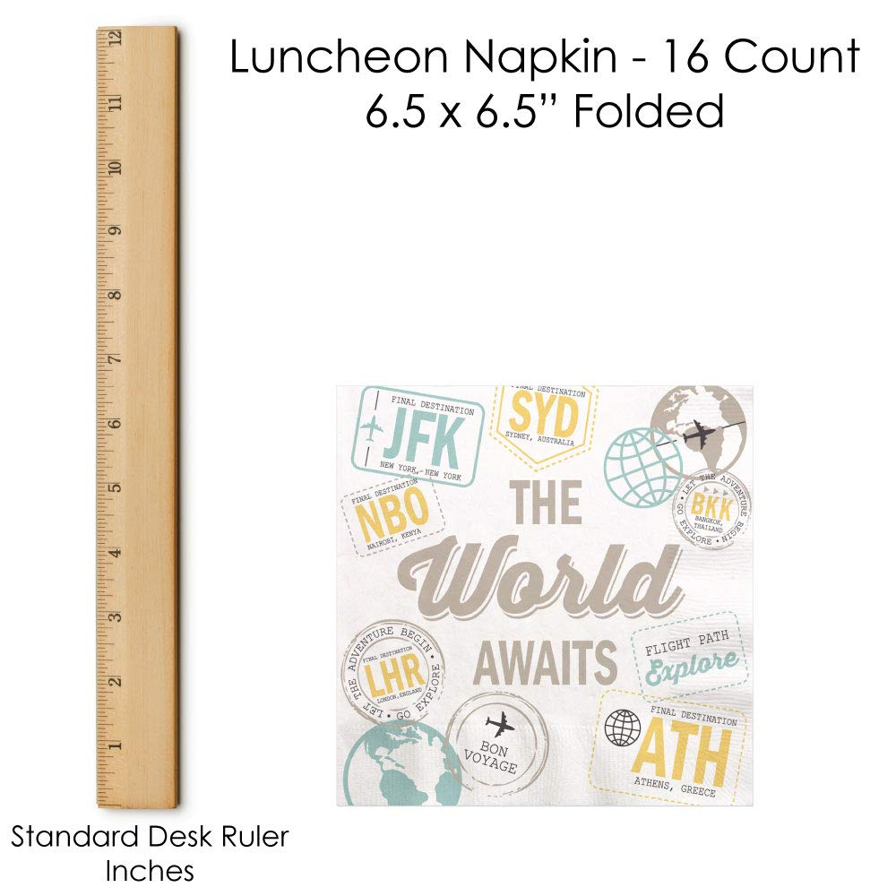 World Awaits 16 Count Travel Themed Party Luncheon Napkins