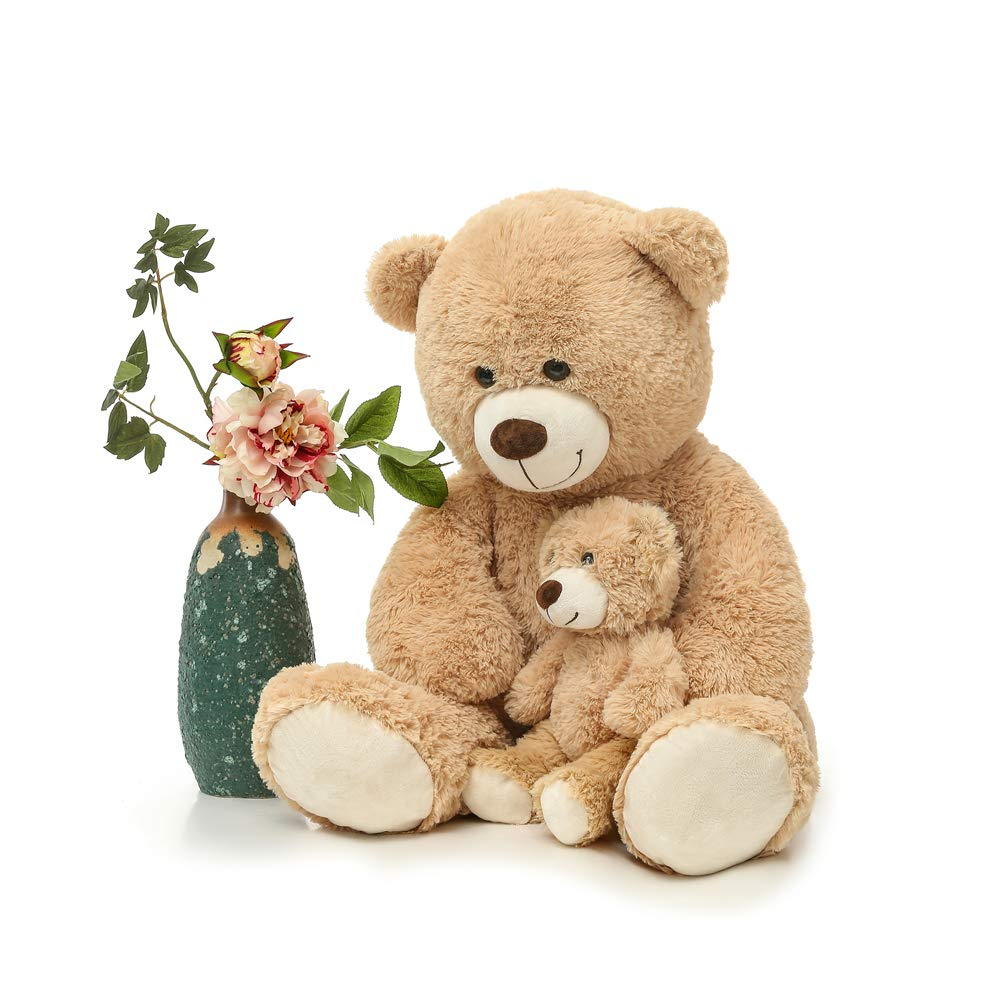 MorisMos Giant Teddy Bear Mommy and Baby Bear Soft Plush Bear Stuffed Animal for Mom and Child,Tan,39 Inches by MorisMos