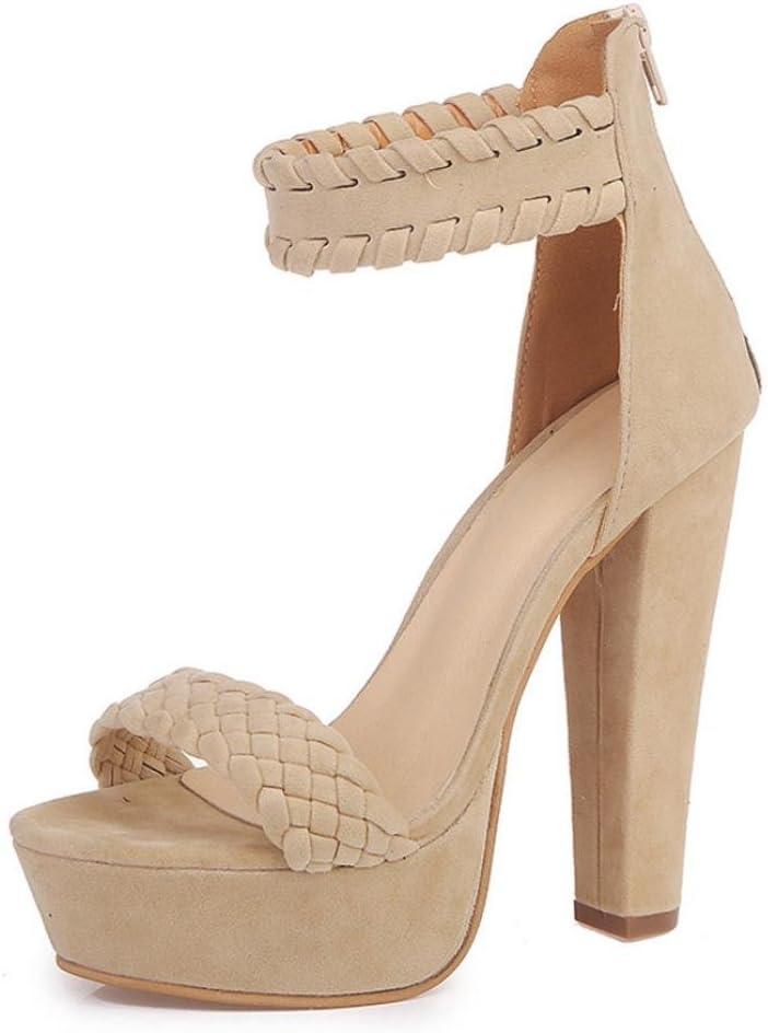 Xinan Femme Et/é Sandales /à Talons /Épais Talons Hauts Chaussures Strappy Sandales Cheville avec Plume Confortable et Mode Talon Haut 2018 EU:38, Noir