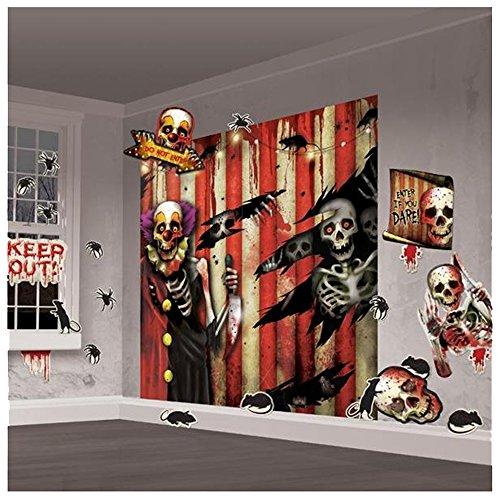Pams Halloween Party Room Decor Creepy Carnival Scene Setter Decoration Kit (32 Pcs) ()