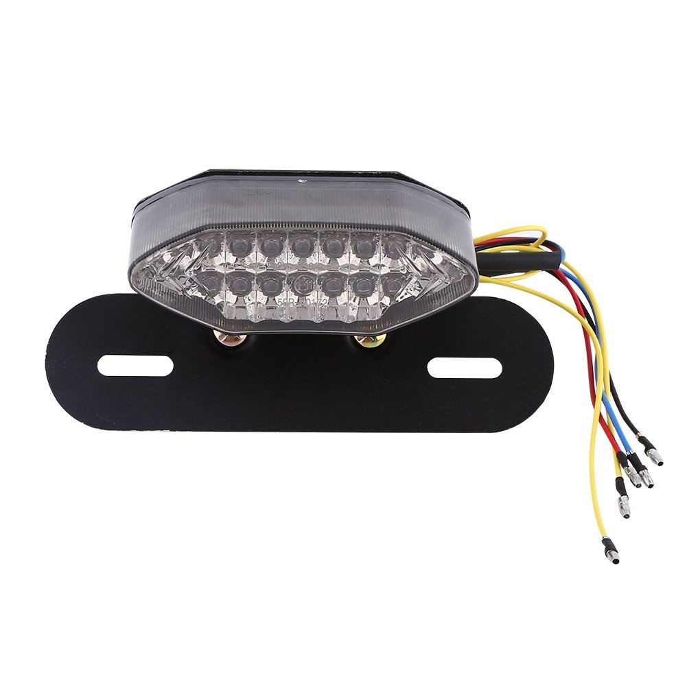 Feux Arriè re Clignotant Moto 12V VGEBY 16 LED Feux De Stop Lampe De Indicateur Feux Signal Plaque D'immatriculation ( Couleur : Gris )