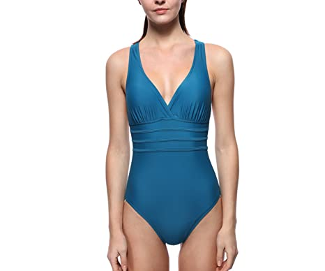 Lotus Instyle Maillots de bain sexy une pi¨¨ce Sexy Deep V Monokini maillots de bain Navy Blue-S Vente 100% D'origine ZRfhV