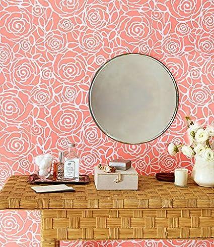 Rockin Roses Modern Floral Wall Stencil Stenciling Custom Design Bedroom Or Nursery Wallpaper Pattern