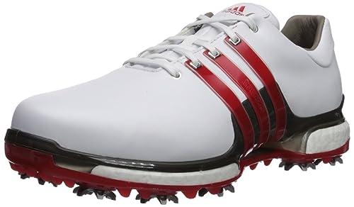 finest selection ef281 bd703 adidas Mens TOUR360 2.0 WD Golf-Shoes, FTWR WhiteScarletDark Silver