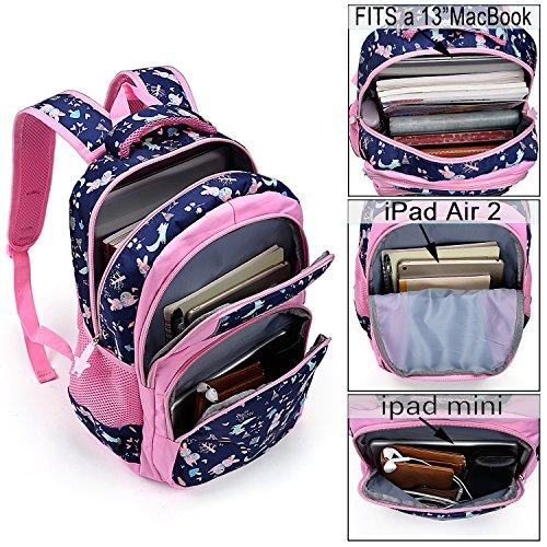 UTO Backpack Nylon Child Teenager Lightweight Rucksack Cute Cartoon Primary Junior School Bookbag Navy Blue