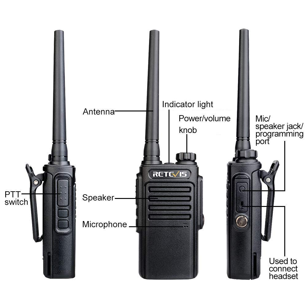 Negro, 2 Par Retevis RT647 Walkie Talkie Recargable PMR 446 Impermeable IP67 Two Way Radio 16 Canales Alcance de hasta 3 KM Walkies Profesionales con Cargador USB Universal