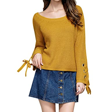 1ec28e88911f ENIDMIL Sexy Women s Off Shoulder Knitted Flare Sleeves Sweater Knit Jumper Blouse  Tops(Yellow