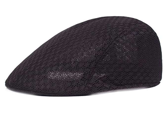 7385bd78281c5 Roffatide Men Women Duckbill Mesh Summer Hat Breathable Gatsby Ivy Driving  Hat Sun Newsboy Cap Black