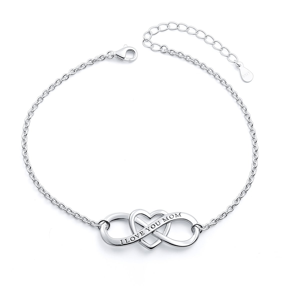 "SILVER MOUNTAIN S925 Sterling Silver ""I Love You Mom "" Heart Infinity Bracelet for Mother"