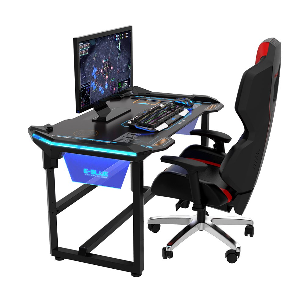 Escritorio gaming E-Blue, 1,2 m con iluminación LED inalámbrica ...