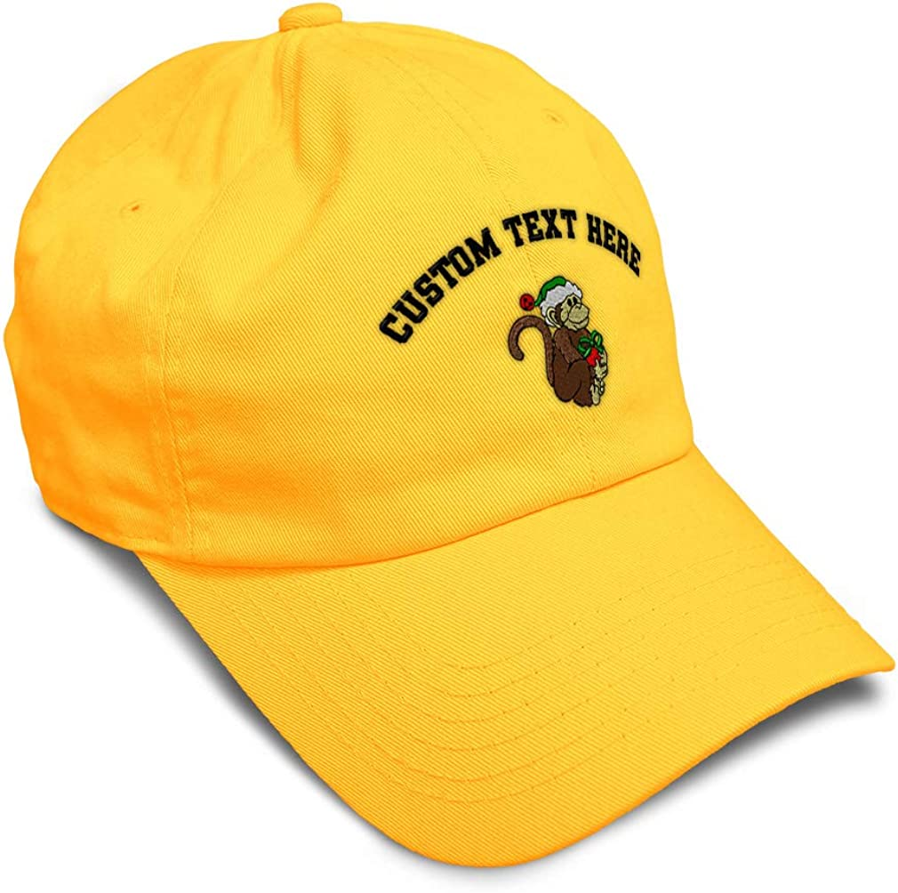 Custom Soft Baseball Cap Christmas Monkey with Gift Embroidery Twill Cotton