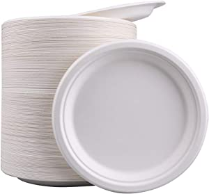 Bekith 150 Pack 10-Inch Paper Plates Biodegradable Disposable Round Plates, Eco-Friendly, Natural Compostable Plant Fiber Plate - Great for Lunch and Dinner Parties, White