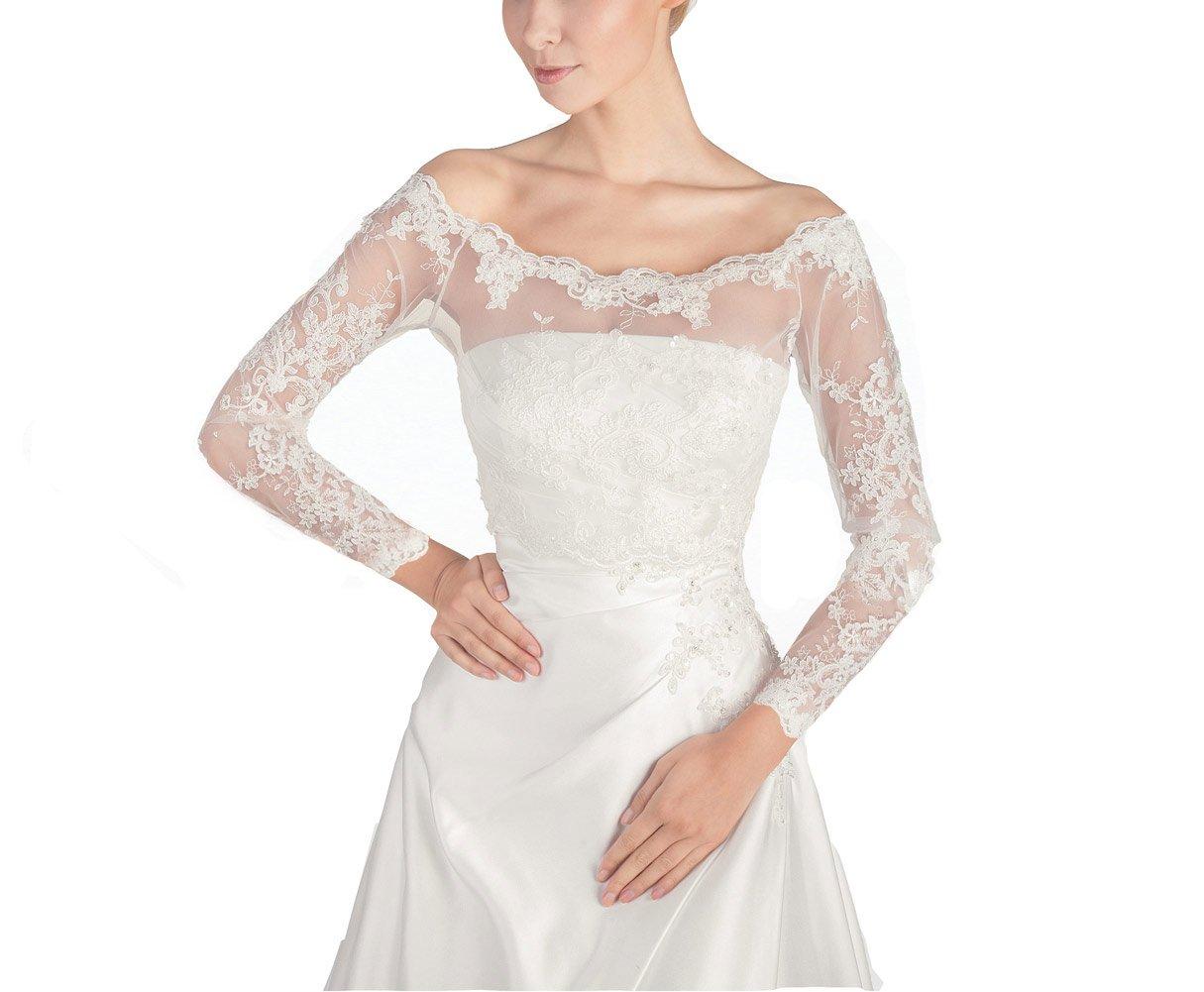 GEORGE BRIDE Women's Wedding Bolero Lace Jacket with Medium Sleeve Lace Jackets (M-long Sleeve, Ivory)