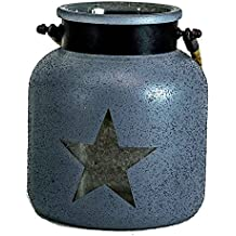 "Lantern Candle Holder Hurricane Indoor Outdoor Glass Jute Metal W Star (6.5"" x 5.5"") (Blue-Gray)"