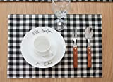 ChezMax Plaid Cotton Linen Reversible Picnic Table Runner 4pcs Placemats Set Party Banquet Decoration Outdoor Tablecloths without Tassles for Dining Table Black and White