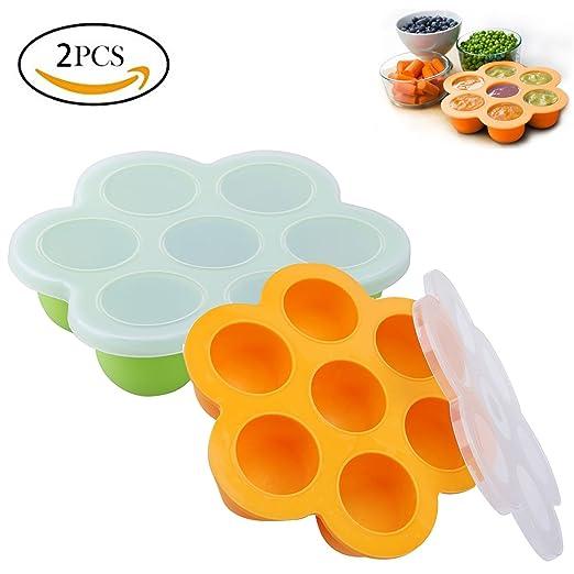 2 recipientes de silicona reutilizables para alimentos de bebé ...