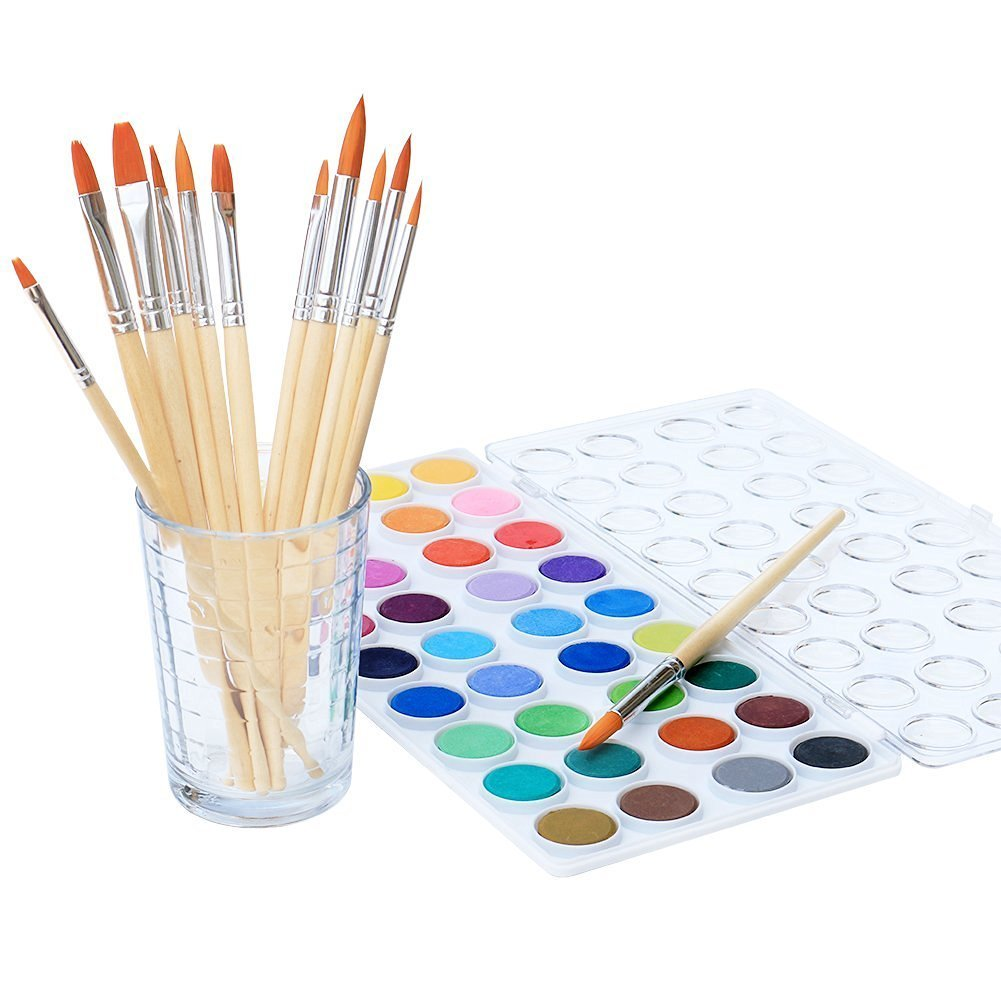 Watercolor Artist Set, 36 Colors, Includes a Variety of 12 Quality Brushes, Everything You Need to Get Started! Brushes Works Great for Watercolor and Acrylic (Watercolor Pan) by kedudes