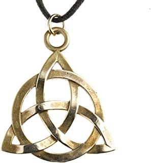product image for Triquetra Trinity Knot Peace Bronze Pendant Necklace on Adjustable Natural Fiber Cord