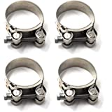40-43mm T-Bolt Clamp 304 Stainless Steel Pipe Clamp Heavy Duty Hose Clamp Pack of 4