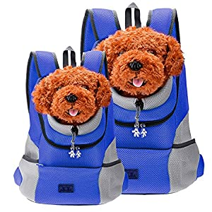 CozyCabin Latest Style Comfortable Dog Cat Pet Carrier Backpack Travel Carrier Bag Front for Small dogs Carrier Bike Hiking Outdoor (XL, Blue)