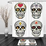 Vipsung Shower Curtain And Ground MatSkulls Decorations Collection of Ethnic Mexican Skulls with Heart and Flower Motifs Calavera Day of the Dead Print MultiShower Curtain Set with Bath Mats Rugs