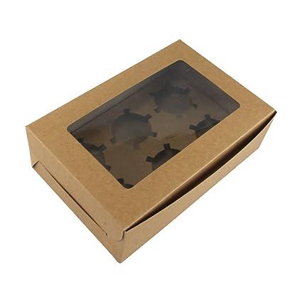 Cajas para cupcakes Kraft, caja de regalo vintage marrón chocolates para tartas, etc,