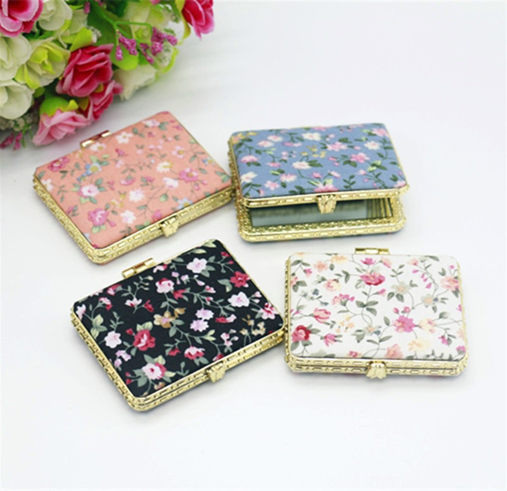 pinjewelr Women's Accessories Adorable Double Sided Metal Square Shape Embroidery Design Compact Pocket Size Mirrors