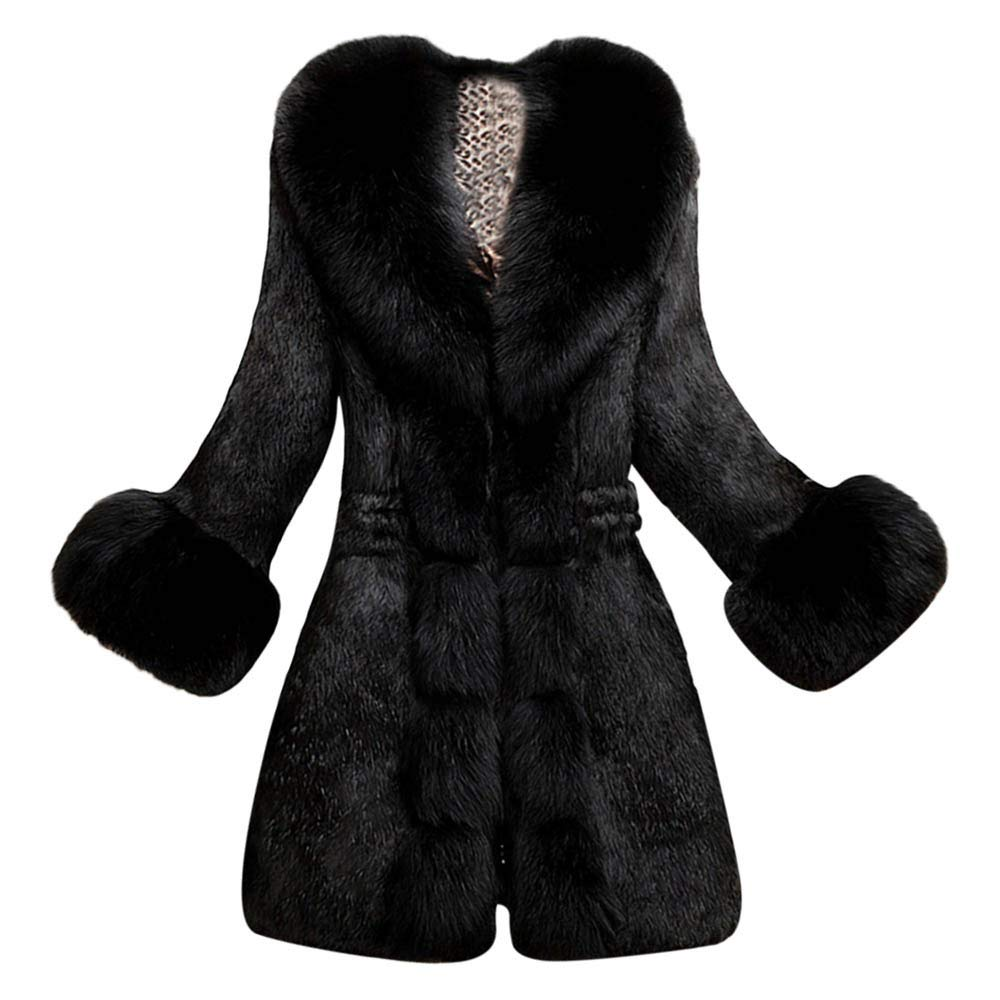 Black Warm Winter Coats for Women Laimeng_World Women's Winter Thick Outerwear Warm Long Fox Faux Fur Coat for Wedding Party