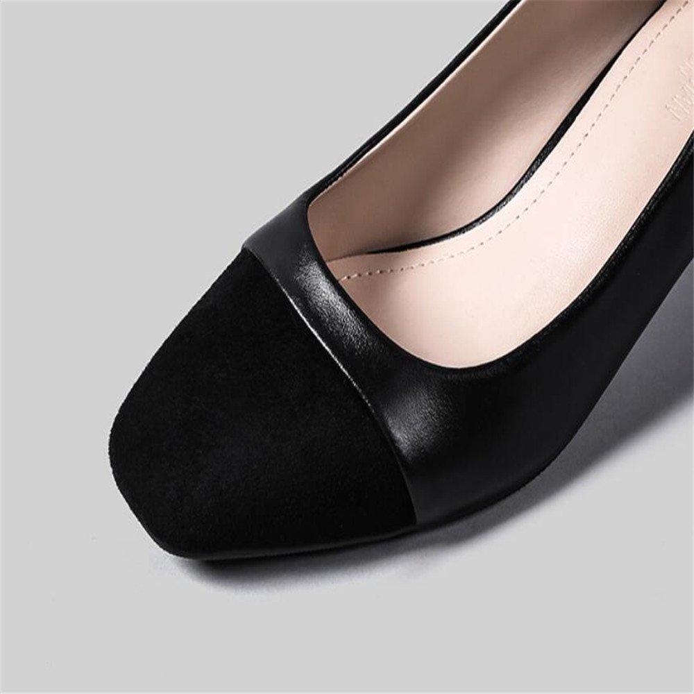 Xue Qiqi Court Schuhe Schuhe Court Quadratischer Kopf Rau mit Wilden Flachen Mund Beschuht zufällige Frauen mit Arbeitsschuhfußschuhen, 40, Schwarz - 46f6ca