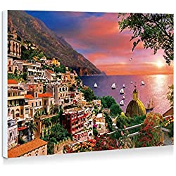 Amalfi Coast - Art Print Wall Art Frameless Decorative Painting - Ready To Hang - 16x12 Inches