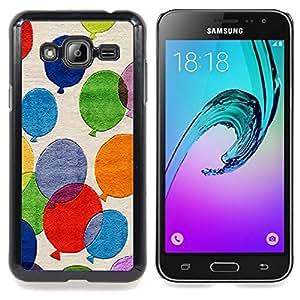 Qstar Arte & diseño plástico duro Fundas Cover Cubre Hard Case Cover para Samsung Galaxy J3(2016) J320F J320P J320M J320Y (Palloncini colorati Pittura Arte Fly Blu Rosso)
