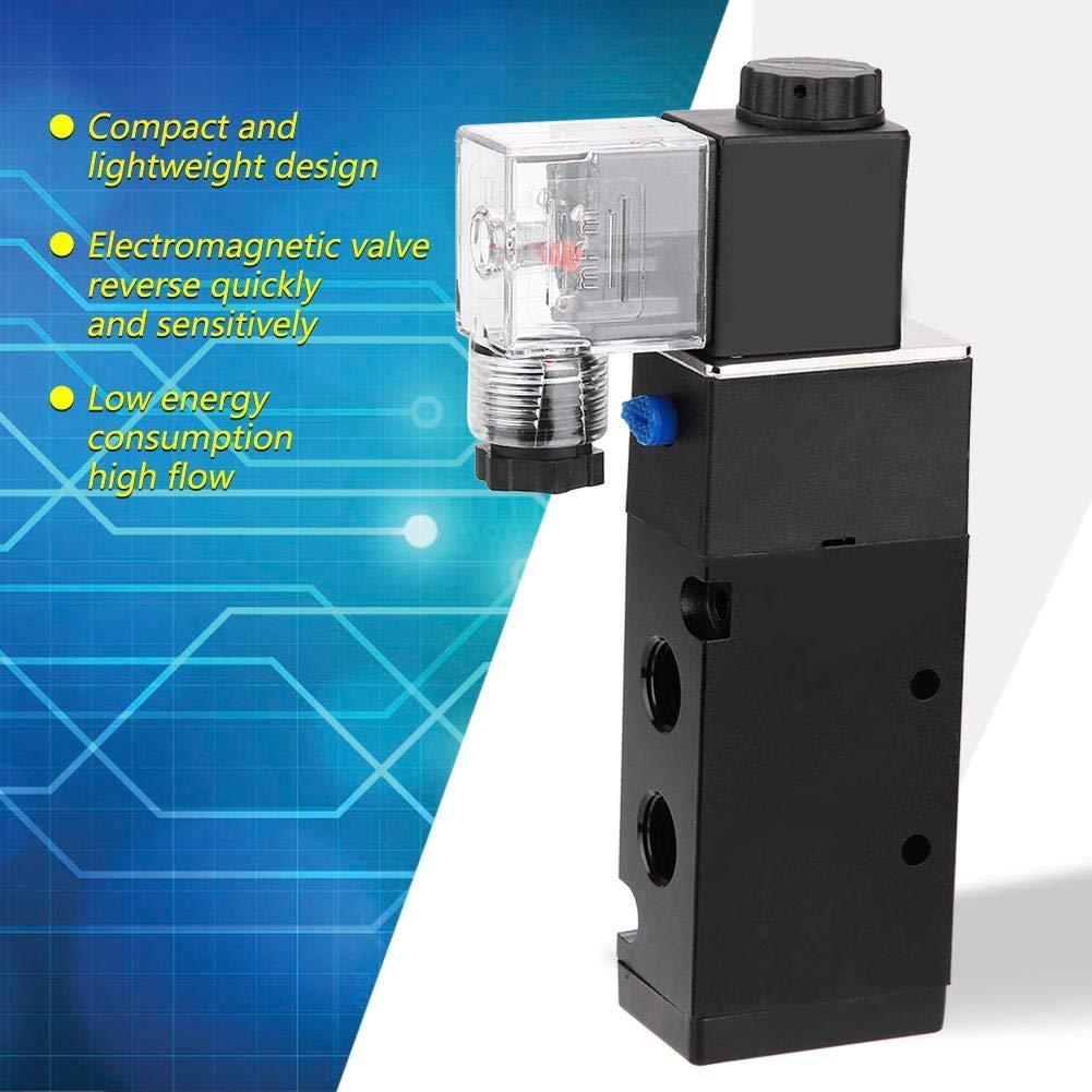 aire DC12V // 24V AC110V // 220V G1 // 4V/álvula solenoide 2 posici/ón 5 puertos de alto flujo DC12V V/álvula electromagn/ética aire comprimido filtrado por 40 micrones