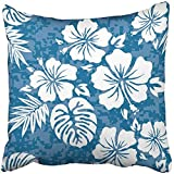 Throw Pillow Cover Square 18x18 Inches White Flower Aloha Hawaiian Pattern Hibiscus Hawaii Tiki Surf Polynesian Floral Island Polyester Decor Hidden Zipper Print On Pillowcases