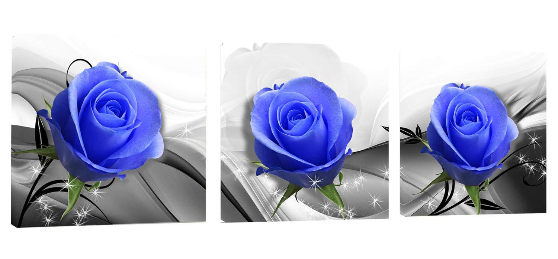 Canvas Wall Art Blue Rose Flowers Artwork - 12