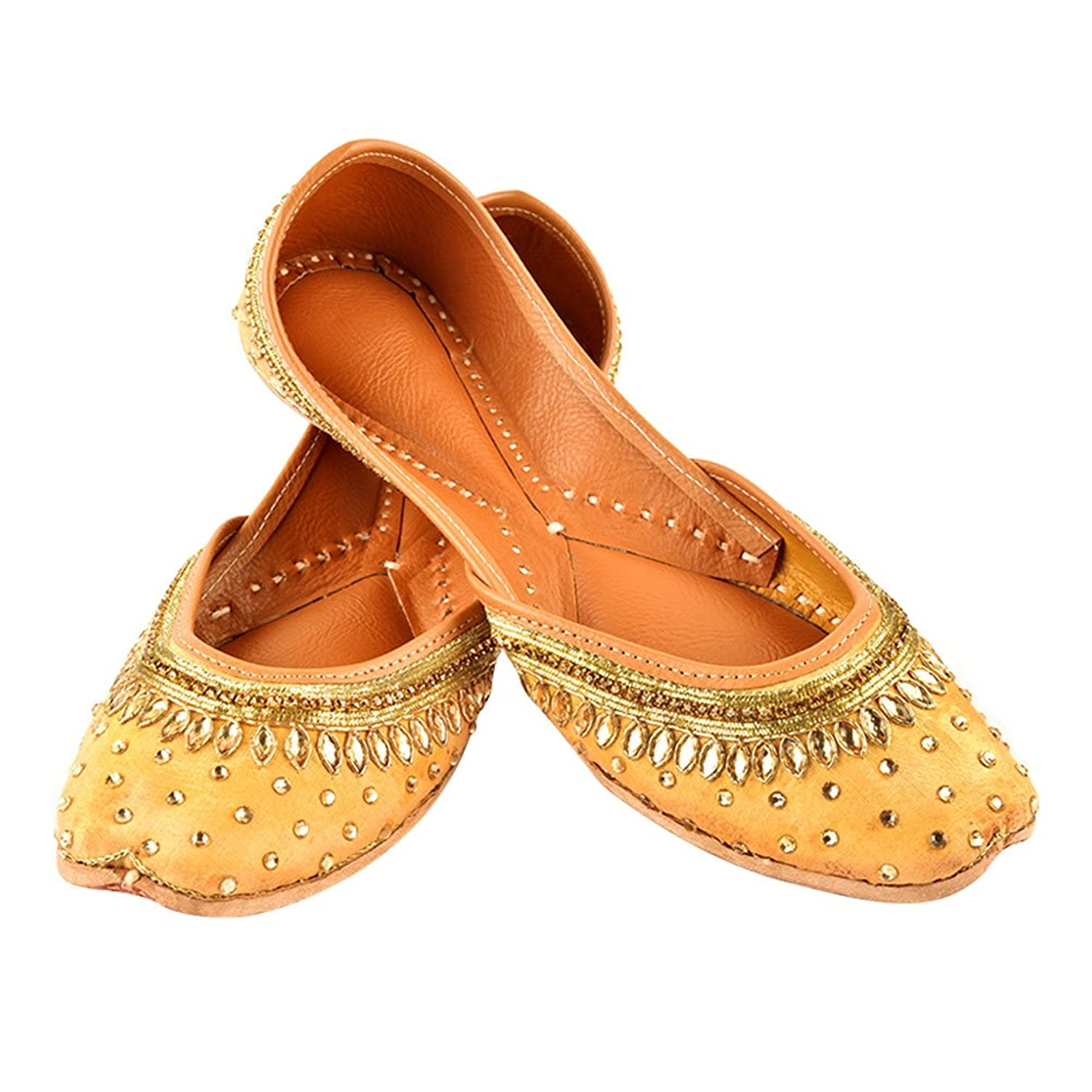 Handmade Peach Golden Juttis Zari Embroidered Silk Leather Double Cushioned Sole Women Traditional Partywear IndianShelf