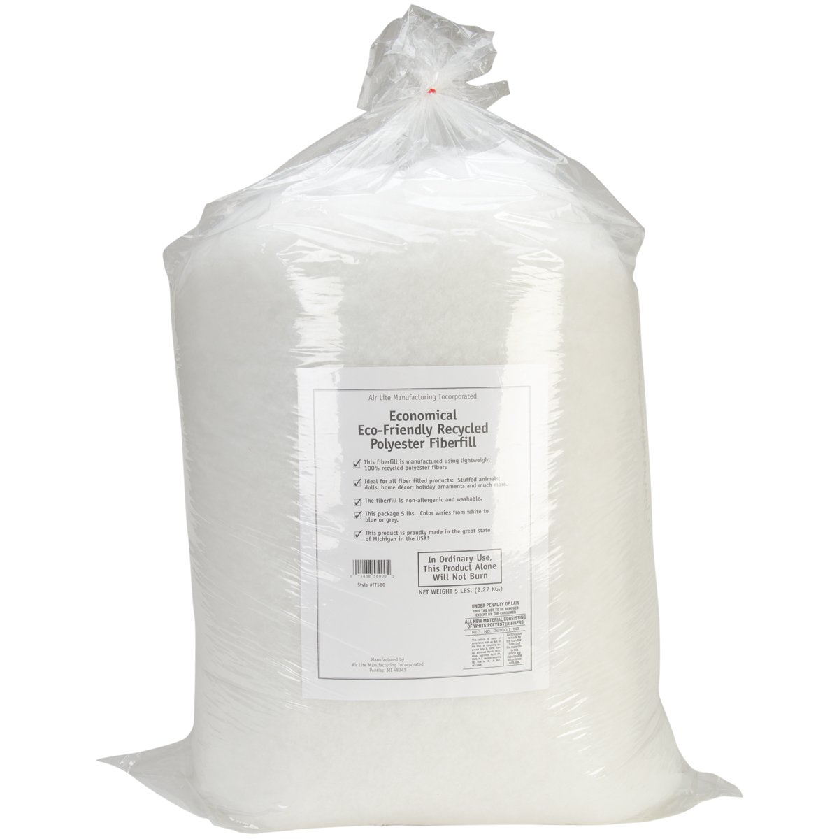 Air Lite 580/6 Eco-Friendly Recycled Polyester Fiberfill, White by Air Lite