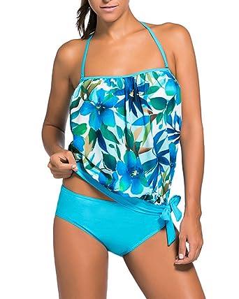 538ec3c8e011 Damen Sports Bikini 2 Teilig Tankini Bademode mit Shorts Bauchweg Badeanzug  Zweiteiler Strand Swimwear  Amazon.de  Bekleidung