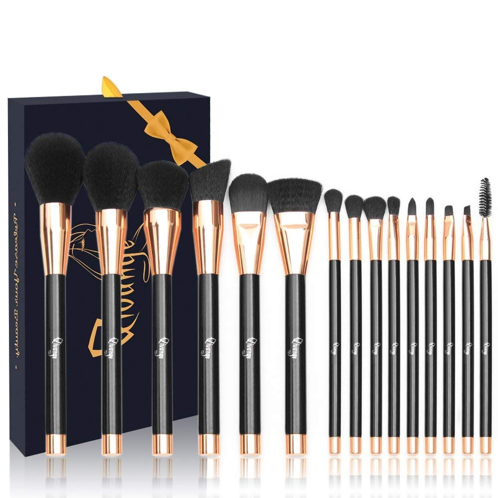 Qivange Makeup Brush Kit, Professional Face Blending Brush Eyeshadow Lip Makeup Brushes Set with Gift Box(15pcs, Black with Rose Gold)
