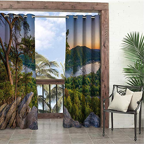 (Linhomedecor Balcony Waterproof Curtains Appalachian Trail Sweet Panoramic Photo of Potomac River from Weverton Cliffs West Virginia Multicolor pergola Grommets Cabana Curtain 120 by 108 inch)