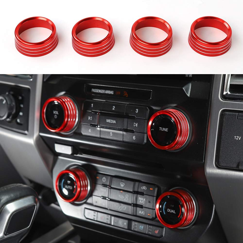 Black Air Conditioner Volume Tune Auto Dual Switch Knob Ring Cover Decor For Ford F150 Raptor 2016 2017 2018 KUJOOY