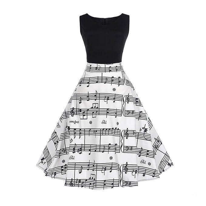 Makefortune Kleid Frauen 50er Jahre Retro Printing Swing Vintage ...