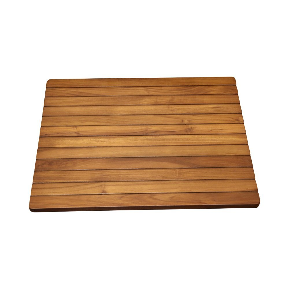ALATEAK Wood Grate Shower Bath Spa Waterproof Floor Door Mat Brown 23''