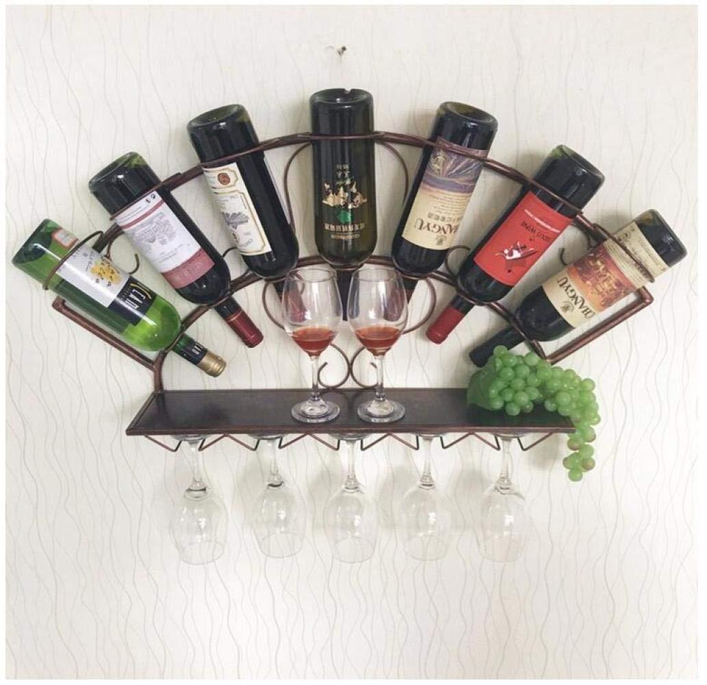 LIUJ Portabottiglie da Parete in Metallo Porta Vino da Vino Bottlte Holder con Supporto in Vetro Decorazione per la Casa 83 /× 40 cm