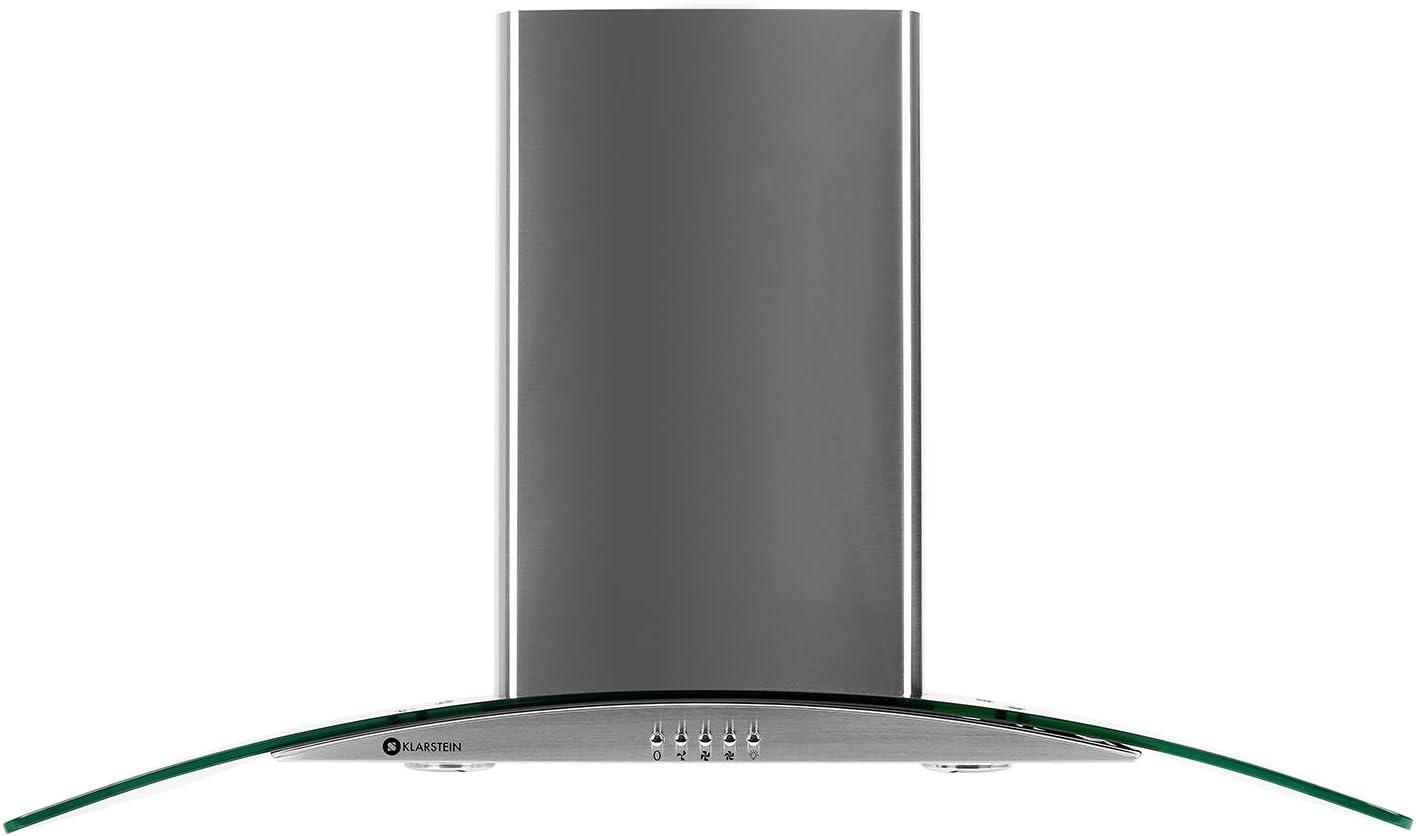 Klarstein GL90WS - Campana extractora de pared, Capacidad de extracción de 490m³/h, 90 cm, Diseño cristal, Acero inoxidable, Iluminación opcional, Cristal transparente: Amazon.es: Hogar