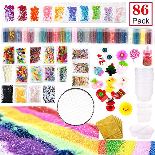 Slime Supplies Kit, 86 Pack Slime Kit for Girl, Eyes, Shell, Snowflake, Slices, Rubber Band, Lollipops, Glitter Jars, Imitation Gold Leaf for Slime DIY Craft, Homemade Slime, Slime Party Decoration