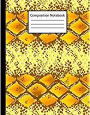 Composition Notebook: Yellow Snake Skin College Ruled Notebook for School, Students and Teachers