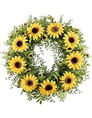 "Homcomoda Artificial Wreath Faux Boxwood Wreath Green Leaves Wreath Spring Wreath 16"" for Front Door Window Wall Decor"