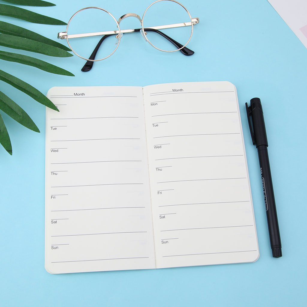 48 Pages Baiyao Portable Agenda Hebdomadaire//Mensuel Organisateur Agenda Mini-notes Journal Journal Du Planificateur De Voyage Couleur Al/éatoire 24 Feuilles
